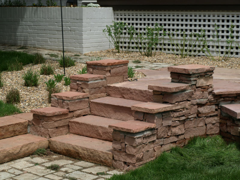 Building Stone Steps And Walkways : Denver landscaping stone steps walkways stairs
