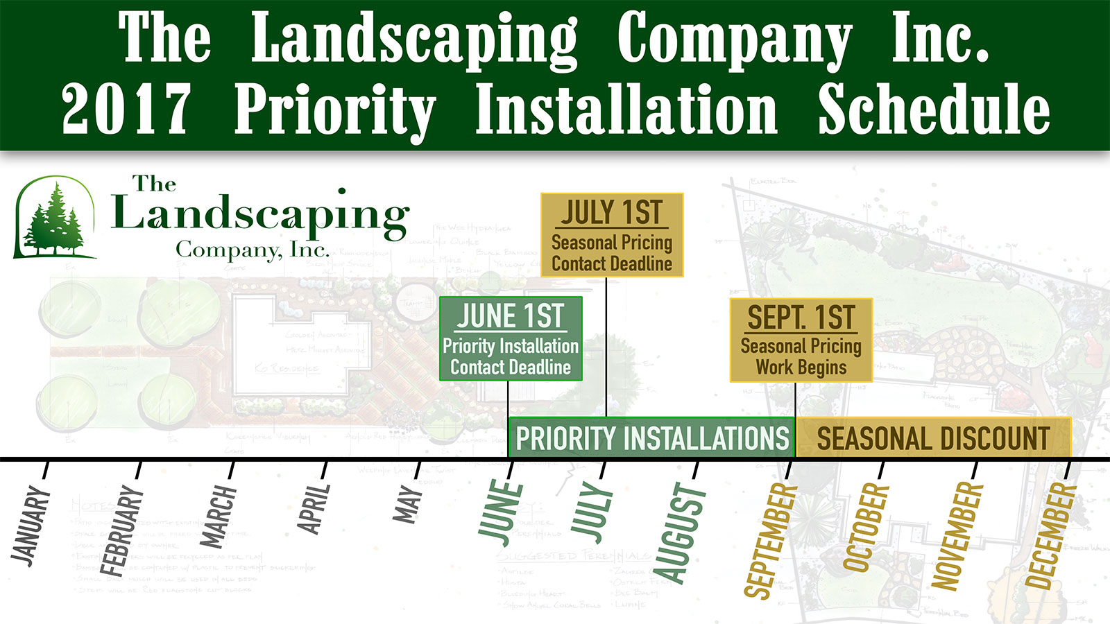 2017 Priority Installaion Schedule for The Landscaping Company Inc. - Denver, CO